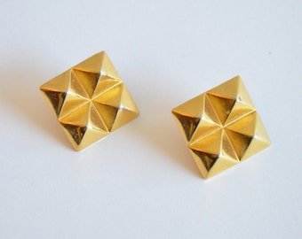 Vintage 1980s STUDDED gold statement earrings