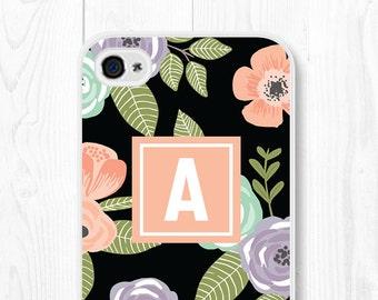 iPhone 6 Case Floral Monogram Phone Case Floral Samsung Galaxy S7 Case iPhone 6 Plus Case Floral iPhone SE Case Floral iPhone 5s Case