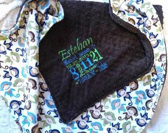 Baby Minky Blanket - Personalized baby blanket -monkey print minky blanket