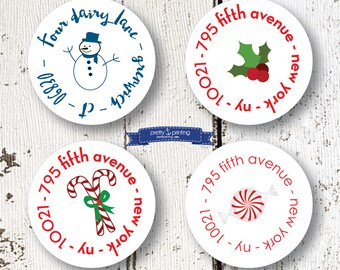 """Personalized 1.5"""" circle return address OR gift label choice of snowman, candy cane, holly or peppermint set/70"""
