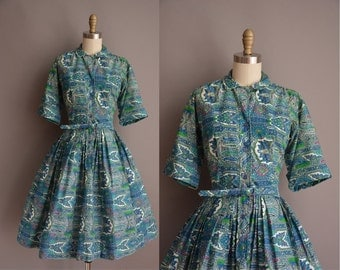 50s blue paisley print vintage cotton shirt dress / vintage 1950s dress