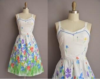 50s inspired floral cotton vintage sun dress / vintage 50s new look dress
