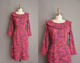 50s Forever Young rose print vintage wiggle dress / vintage 1950s dress
