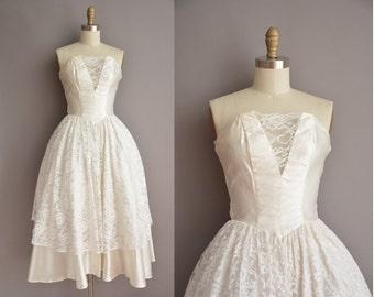 50s inspired strapless white vintage wedding dress / vintage 1950s inspired dress