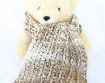 Crochet scarf brown tan cream soft lace wide cabled shell stitch neckwarmer winter wear neckwear textured pretty accessory warm