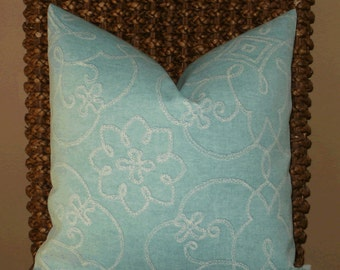 SALE ~ Outdoor Decorative Pillow Cover: Designer Outdoor Fabric 18 X 18 Pillow Cover in Spa Blue