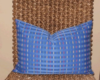 SALE - Decorative Pillow:  12 X 18 Designer Accent Throw Pillow Cover in Royal Bluw with Mutli Colored Ribbon Accents