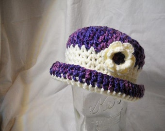 Childs Purple and Cream Childs Crocheted Hat with Brim