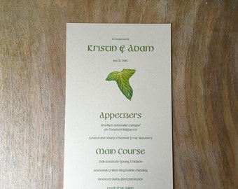 Menu Cards, Lord of the rings - CUSTOM Layout - for events, weddings, parties and holiday entertaining.