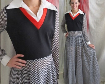 Mod Maxi, Vintage 70s Dress, Wide Sweep, Red Black & White, Color Block Checks