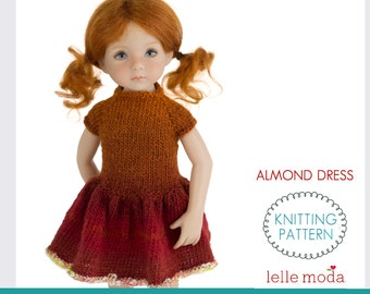 Almond Dress - Knitting Pattern - Little Darling Dolls by Dianna Effner - 13 inch Doll Clothes -  Doll Knitted Fall Dress