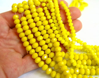 """18"""" 4mm 6mm Lemon Yellow Opaque designer crystal rondelle Beads faceted glass PICK SIZE"""