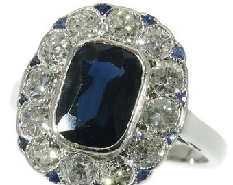 Valentines Sales Sapphire and Diamond Art Deco Ring - Old European diamonds blue sapphire triangle stones engagement ring 1920s