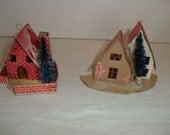 A)  Two Small Cardboard Christmas Houses