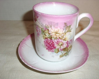 Pink Porcelain Cup and Saucer.