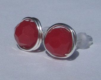 Large Dark Red Coral Stud Earrings (10mm), Swarovski Crystal Stud Earrings, Wire Wrapped Sterling Silver Stud Earrings, Big Stud Earrings
