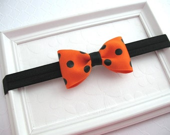 Halloween Baby Headband, Halloween Hair Bow, Bow Headband, Orange and Black Bow, Baby Headband, Girls Halloween Headband