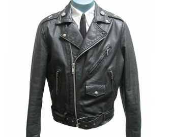 Vintage Motorcycle Jacket Size 38 Fits Mens Small Preowned Bermans The Leather Experts Black Leather Studded Biker Jkt with Beaded Rosettes