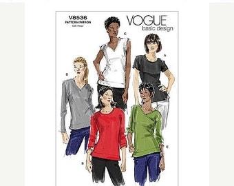 ON SALE Sz 6/8/10/12 - Vogue Top Pattern V8536 - Misses' Easy Pullover Top in Five Variations