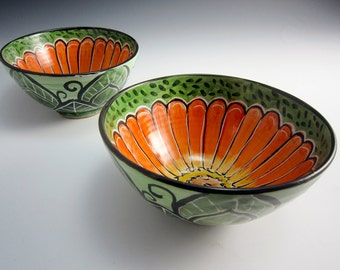 Medium Small  Ceramic Bowl -  Pottery Bowl - Orange Zinnia Flower - Prep Bowl - Majolica Bowl - Green - Cereal Bowl - Small Serving Bowl