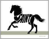 Personalized Mustang Horse Silhouette Print, Custom Horse Art, Gift for Horse Owner, Horse Name Art
