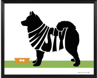 Personalized Samoyed Silhouette Print, Framed 8x10 Dog Name Art, Samoyed Memorial Gift