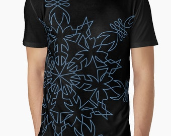 Snowflake Design in Blue - Graphic T Shirt