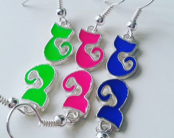 I LOVE CATS, cat earrings, cat dangly earrings, cat, cat lady, cat crazy, neon colour, choose colour, by NewellsJewels on etsy