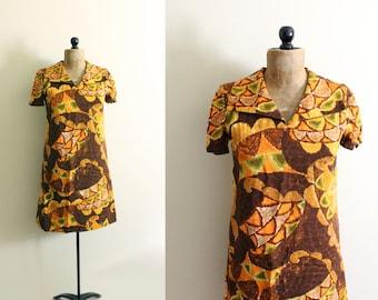 vintage dress 60s mod shift handmade brown orange retro print 1960s womens clothing size s m small medium