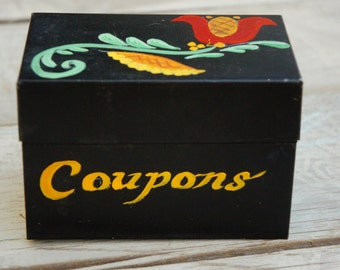 Vintage 70s Handpainted Coupon Box File Box Recipe Box Rosmaling Boho Country Style