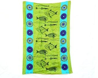 Vintage 60s-70s Fish Print Tea Towel Irish Linen Retro Mid Century