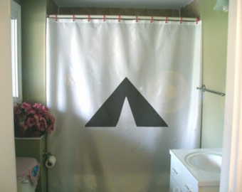 tent Shower Curtain camping great outdoors back to nature roughing it wilderness bathroom decor kids bath curtains custom size long wide
