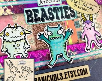Monster Digital Stamp Bundle of 3 - Digital Stamp - Digistamp - Coloring Pages - Printable Sticker - Clip Art - Printables