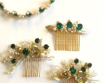 Emerald hair comb , Golden hair combs, headpiece, bridal hair comb