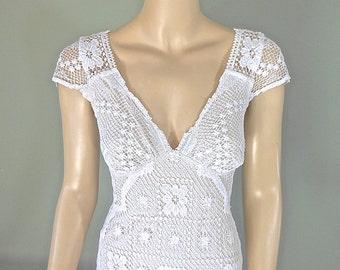Hippie Boho WEDDING Dress, Crochet Lace Wedding Dress, Simple WEDDING dress, Beach Wedding Dress Sz Small