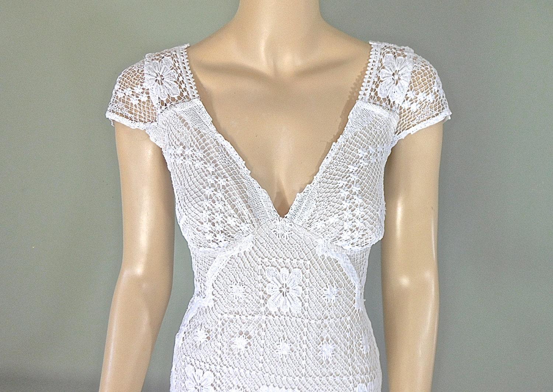 Sale 25 off unique wedding dress crochet lace wedding dress for Crochet wedding dresses for sale