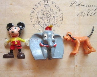 3 vintage Disneykins miniatures - Mickey Mouse, Dumbo, and Pluto