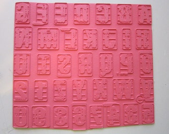 rubber stamp alphabet - unmounted - PHLAX font - grunge