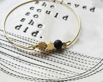 Lava rock mixed bangle in black, essential oil bracelet, delicate modern jewelry