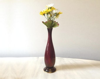 Vintage vase, vintage oxblood vase, vintage Carltonware, ceramic vase, pottery vase, iridescent vase, mid century vase, vintage flower vase
