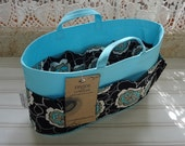 Size SMALL / Ready to ship / Purse ORGANIZER Shaper / Black Floral on Sweet Blue / 10.5 x 3.5 x 6H oval /With Handles/ Choice of bottom type