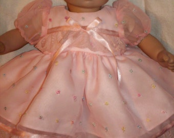 """15"""" 16"""" American Made Girl Baby Doll Clothes Peachy Pink Eyelet Organdy N Lace Party Doll Dress with panties fits 14"""" 15"""" 16"""" Dolls"""