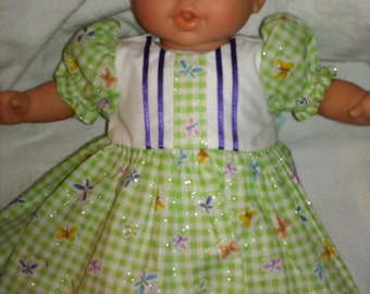 """15"""" 16"""" American Made Girl Baby Doll Clothes Green Check with Sparkles and Butterflies Girl Doll Dress with panties fits 14"""" 15"""" 16"""" Dolls"""