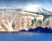 Lake Photography, Crater Lake Oregon Wall Decor, Sapphire Blue Lake Photo Print, Winter Mountain Snow Photography, Nature Wall Art, Caldera