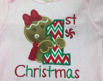 1st Christmas Gingerbread Girl onesie