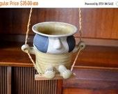 20% OFF SALE vintage stoneware swinging planter