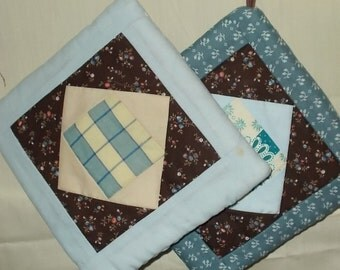 POTHOLDER (#13) Blues and Brown Square in Square Traditional Quilt Pattern,  Made in US,  Contemporary. Farm, Lodge, Cabin, Masculine  Decor