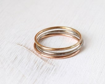Gold Stackable Ring Set / yellow white rose gold rings / three solid 14k gold rings / solid gold wedding bands / round gold rings / handmade