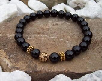 Onyx gemstone Beaded Meditation Stretch Bracelet with Gold accent beads, Tribal Gypsy jewelry, Bohemian bracelet