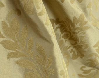 Florida A Sand Flocked Velvet Damask Polyester Fabric